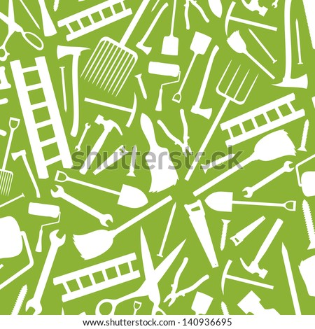 garden tools background (silhouettes of garden tools, garden tools abstract texture) - stock photo