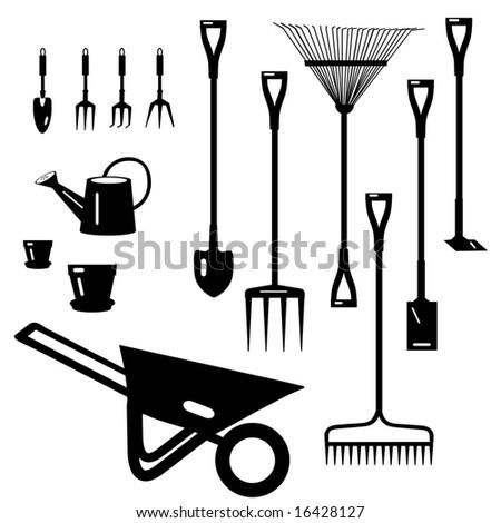 Garden Tools Collection is original artwork. - stock photo
