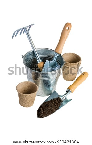 Garden Tools Planting Isolated On White Stock Photo Edit Now