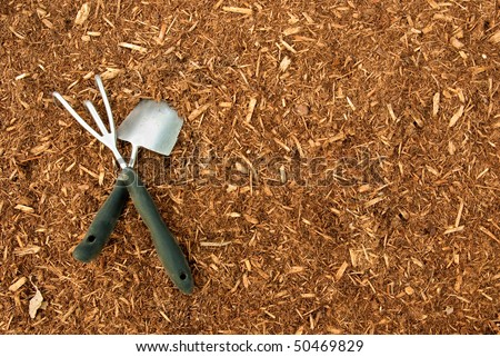 Garden Tools on Bark Mulch suitable for a background - stock photo