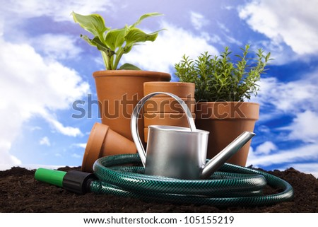 Garden tools on blue sky background