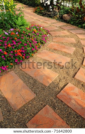 Garden walkway - stock photo