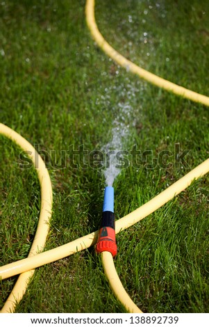 Garden water hose on a well groomed freshly cut grass - stock photo