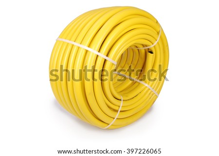 Garden water hose rolled up in a tangle isolated on white - stock photo