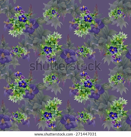 Garden watercolor floral seamless pattern on purple background