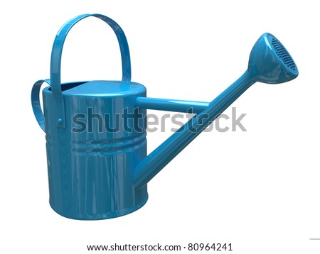 Garden watering can painted isolated on a white background