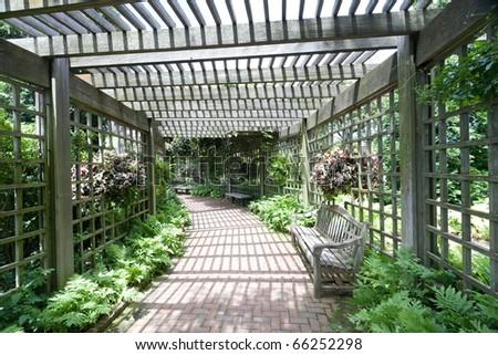 garden way  tunnel - stock photo