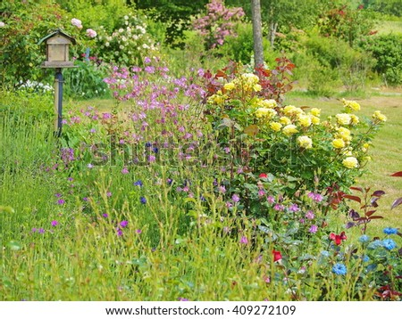Garden with colorful flowers and a bird box in background, France - stock photo