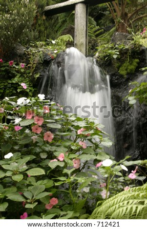 Garden with flowers and cascading water