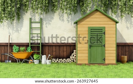 Garden with gardening  tools and wooden shed with closed door - 3D Rendering - stock photo