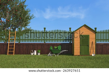 Garden with gardening tools,wooden shed ,fence and apple tree - 3D Rendering - stock photo