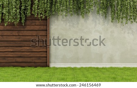 Garden with old wooden fence and wall - 3D Rendering - stock photo