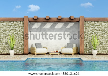 Garden with stone wall, swimming pool and two pallet armchair in a sunny day - 3d Rendering - stock photo