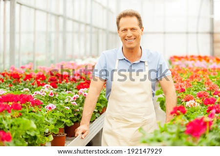 Gardener. Handsome mature man standing in flower bed and smiling - stock photo