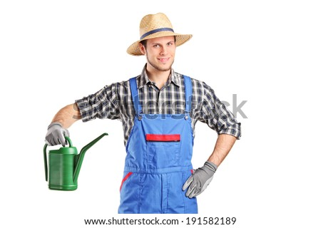 Gardener holding a watering can isolated on white background