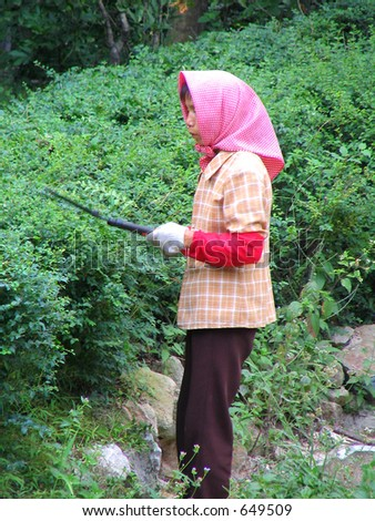 Gardener in Qingying Mountain, Quanzhou, China