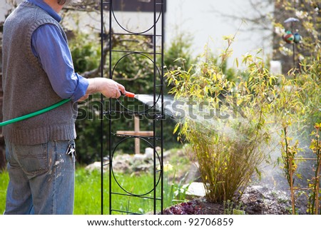 Gardener watering plants - stock photo