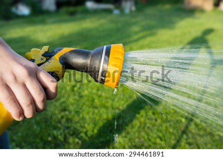 Gardener watering the grass from a hose