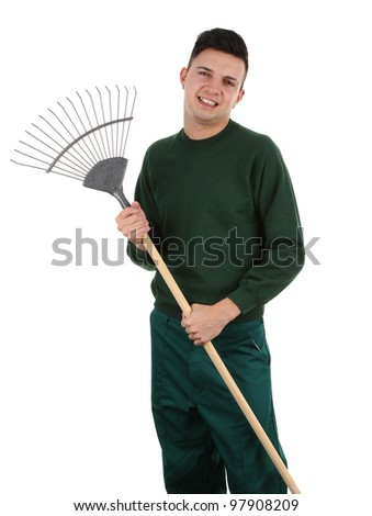 Gardener with a rake, isolated on white - stock photo