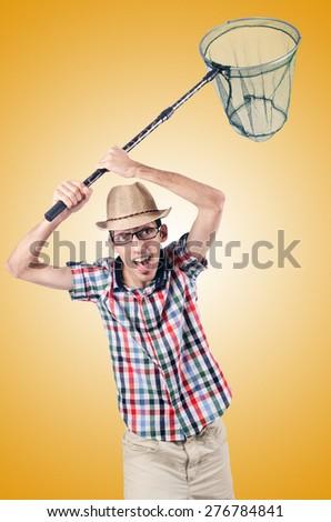 Gardener with net isolated on white - stock photo