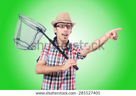 Gardener with net isolated on white - stock photo