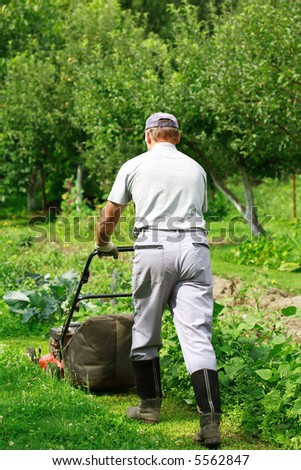 Gardening - cutting the grass