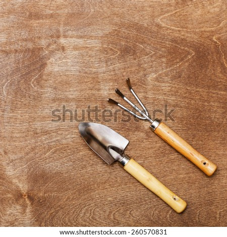 Gardening Equipments - Small Shovels and Rakes on woody background - stock photo