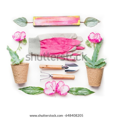 Gardening Flat Lay With Pink Flowers, Pots And Gardening Tools On White  Background, Top