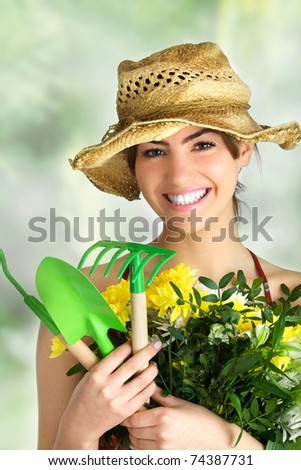 gardening girl portrait - stock photo