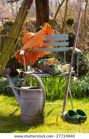 gardening in spring - stock photo