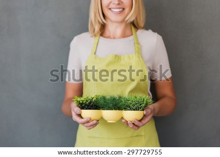 Gardening is more than hobby. Cropped image of cheerful mature woman in green apron holding flower pot and smiling while standing against grey background  - stock photo