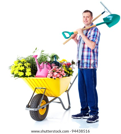 Gardening man with shovel and rake. Isolated over white background.