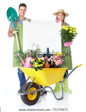 Gardening. People florists with flowers. Isolated over white background