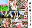 Gardening. People workers with flowers. Collage. - stock photo