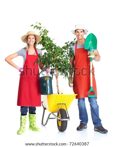 Gardening. People workers with flowers. Isolated over white background - stock photo