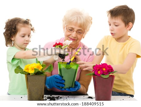 Gardening, planting - grandmother with grandchildren planting flowers into the flowerpot, isolated over white - stock photo