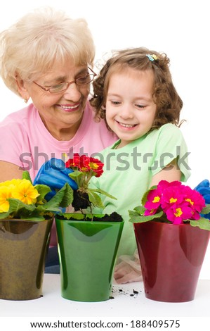 Gardening, planting - grandmother with granddaughter planting flowers into the flowerpot, isolated over white - stock photo