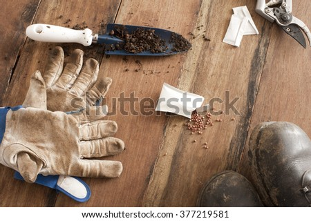 Gardening still life with gloves, a small trowel, open packet of spilled seeds, boots and secateurs for pruning on a wooden table - stock photo