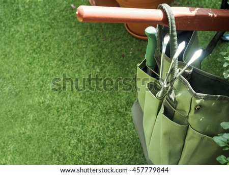Summer Outdoor Backgrounds Gardening Tool Bag With Green Grass