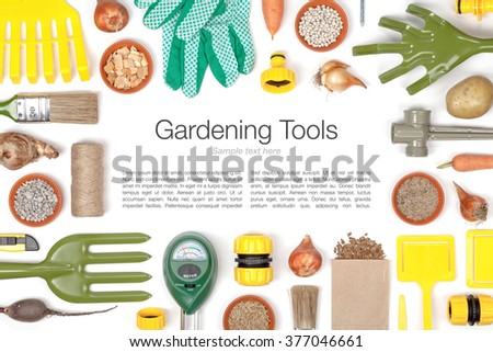 gardening tools and essentials on white background top view. frame composition with copy space - stock photo
