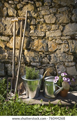 Gardening tools and flowers outdoor close up shoot - stock photo