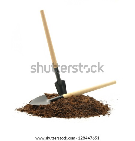 gardening tools and peat on a white background - stock photo