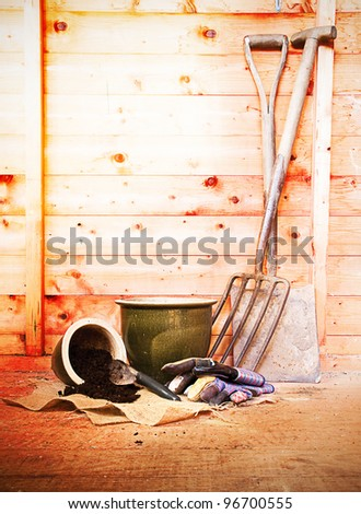 gardening tools and pots in a garden shed