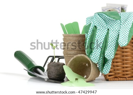 Gardening tools and seedling,isolated on white background. - stock photo