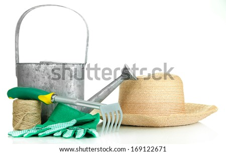 Gardening tools isolated on white