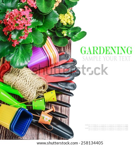 Gardening tools on a white background isolated. text is an example and removed easily - stock photo
