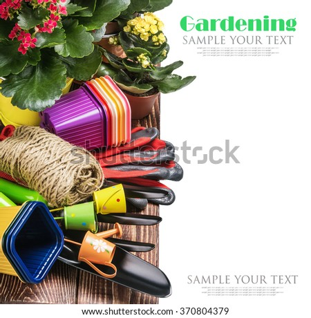 Gardening tools on a white background isolated. text is an example and removed easily. Focus in the center of the tools - stock photo