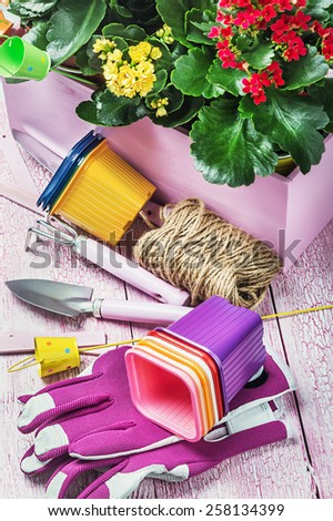 Gardening tools on a wooden table. Focus on the gloves - stock photo