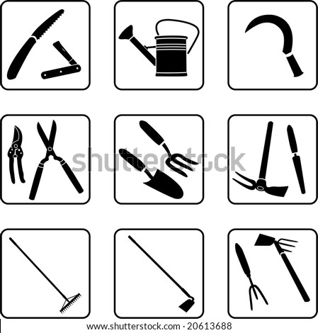 gardening tools silhouettes (also available in vector format) - stock photo