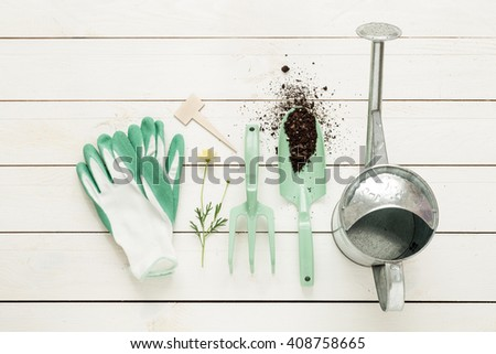 Gardening tools, watering can and gloves on white wooden table. Spring in the garden concept, top view, flat lay composition. - stock photo